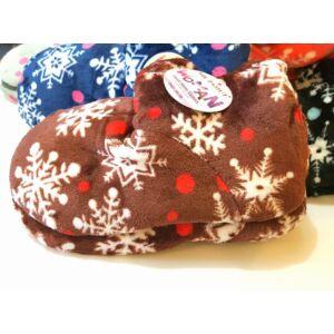 35-41 Sweet Home házi mamusz hópehely mintával - csokoládé