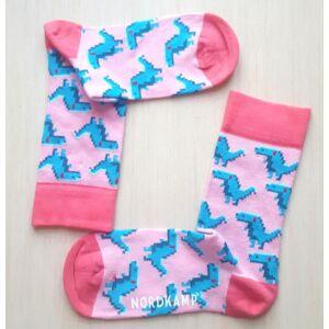 Nordkamp socks - rózsaszín pixel dinoszaurusz