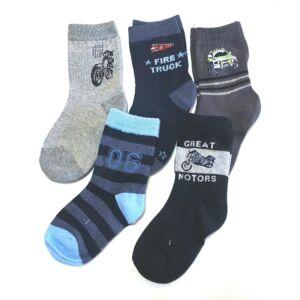 5 pár fiú zokni - kék/szürke/fekete - motoros, csíkos, tűzoltóautós