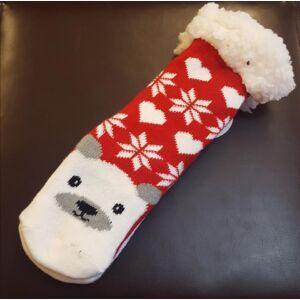 Pihe-puha karácsonyi mintás szobazokni - piros, jegesmedvés