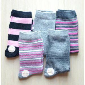 5pár női zokni szürke-rózsaszín csíkos