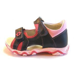 25-35 LINEA tépőzáras szandál lányoknak - sötétkék/pink - virágos