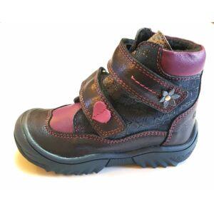 21-33 LINEA téli bundás cipő lányoknak - kék, lila, szívecskés