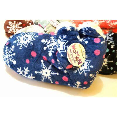 35-41 Sweet Home házi mamusz hópehely mintával - kék