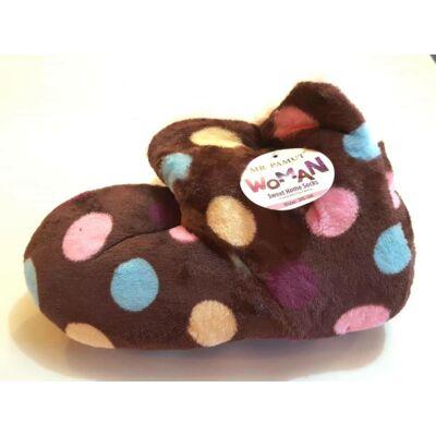 35-41 Sweet Home házi mamusz pöttyös mintával - csokoládé barna